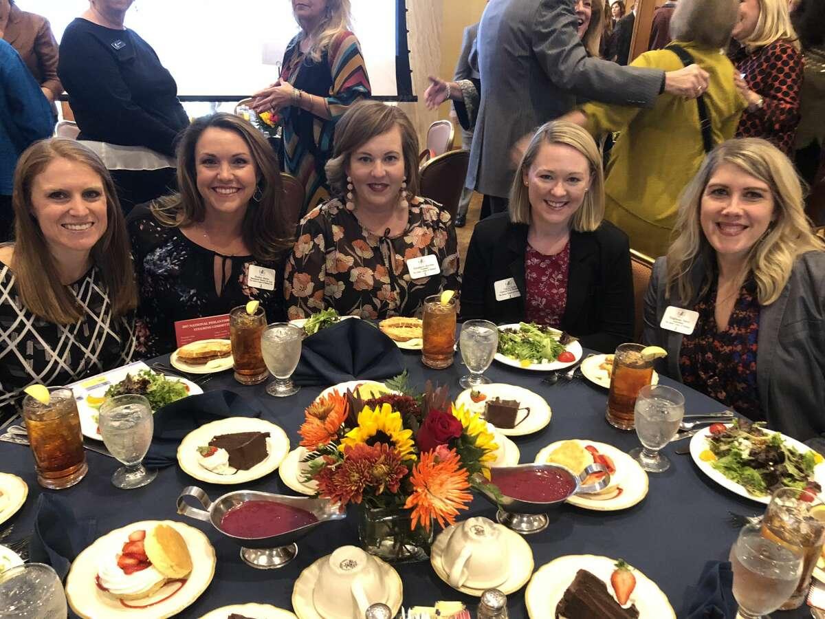 Philanthropy luncheon: Ashley Warne, from left, Heather Martin, Elizabeth Maybin, Tricia Seth and Stephanie Perry