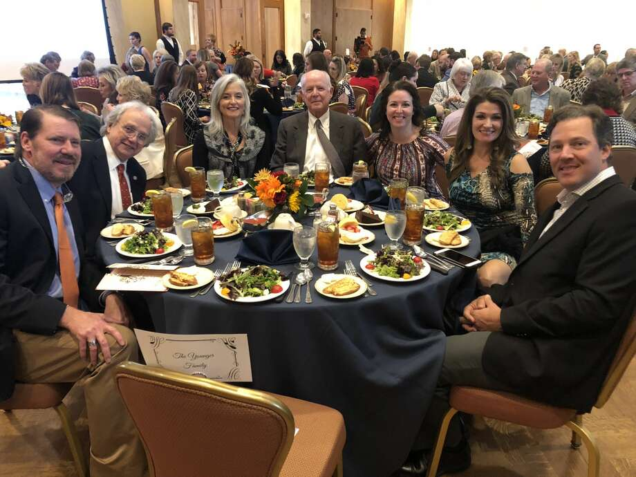 Philanthropy luncheon: Tom Younger, from left, John Young, Dr. Tom Younger, Frances Younger, Emily Edwards, Leah Watkins and Brett Watkins Photo: Courtesy Photo