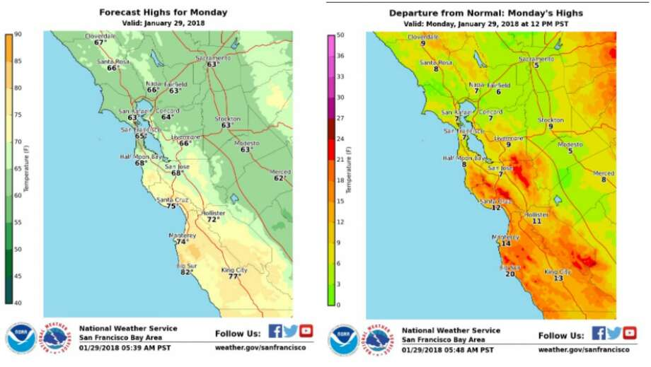 The forecast calls for warm temperatures across our region Monday. The graphic on the left shows forecast highs for Jan. 29, 2018. The graphic on the right displays how much today's expected highs depart from normal Photo: National Weather Service Bay Area