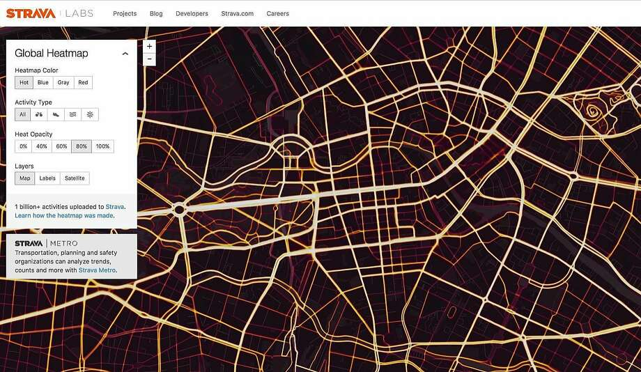 A Strava map shows routes of users' activities in Berlin. The map is said to expose sensitive military data. Photo: STRAVA, NYT