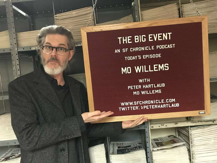 Mo Willems poses with The Big Event board at the podcast studio in The San Francisco Chronicle's basement archive. Photo: Peter Hartlaub