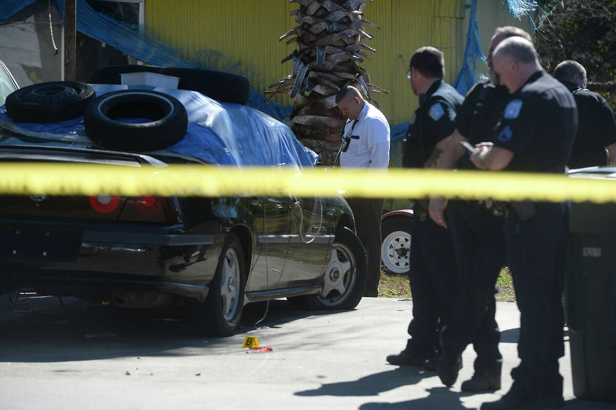 Beaumont police investigate a fatal shooting in the 1100 block of Church Street on Monday. The female victim was taken to St. Elizabeth's Hospital where she died. Photo taken Monday 1/29/18 Ryan Pelham/The Enterprise