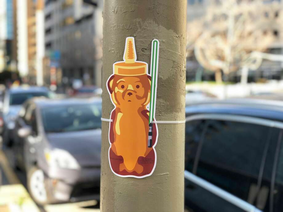 Photos show examples of the different honey bears street artist fnnch plastered around downtown San Francisco overnight Sunday. Photo: Courtesy Of Fnnch
