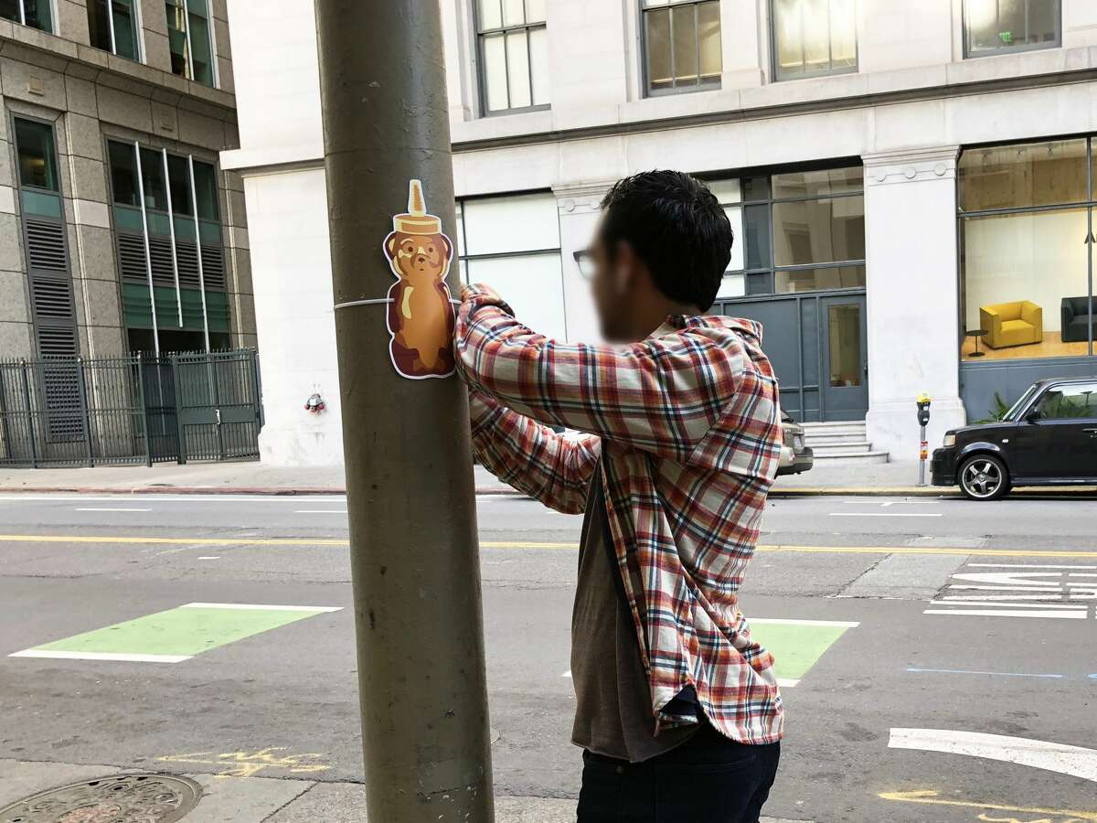 Photos show examples of the different honey bears street artist fnnch plastered around downtown San Francisco overnight Sunday.
