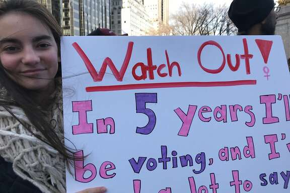 Am�lie L�Henaff, 13, marched in the New York City Women's March on Saturday, Jan. 20, 2018. She's a part of LiveGirl, a mentoring and leadership program.
