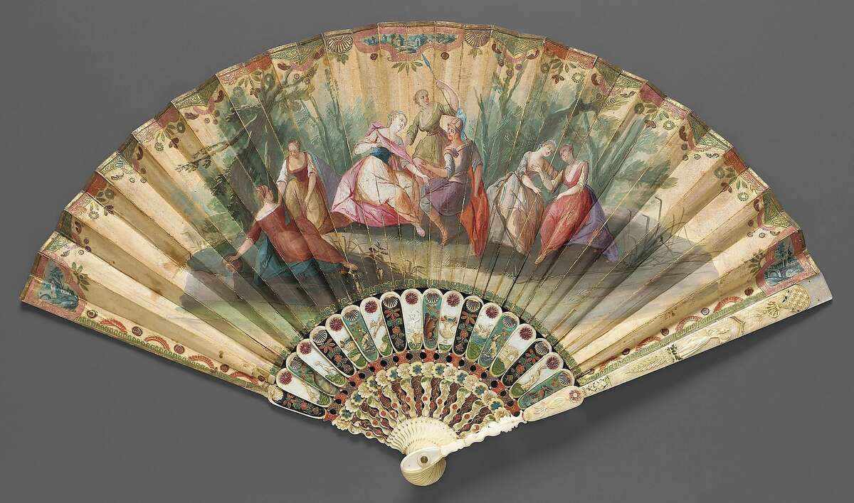 """From """"Casanova: The Seduction of Venice"""" at the Legion of Honor Feb. 10-May 28.�Fan, 1730s, Italy, Venice. Double paper leaf painted in gouache; ivory sticks, lacquered and gilded; mother-of-pearl, 20 7/8 in. (53 cm). Museum of Fine Arts, Boston, Oldham Collection, 1976.190"""