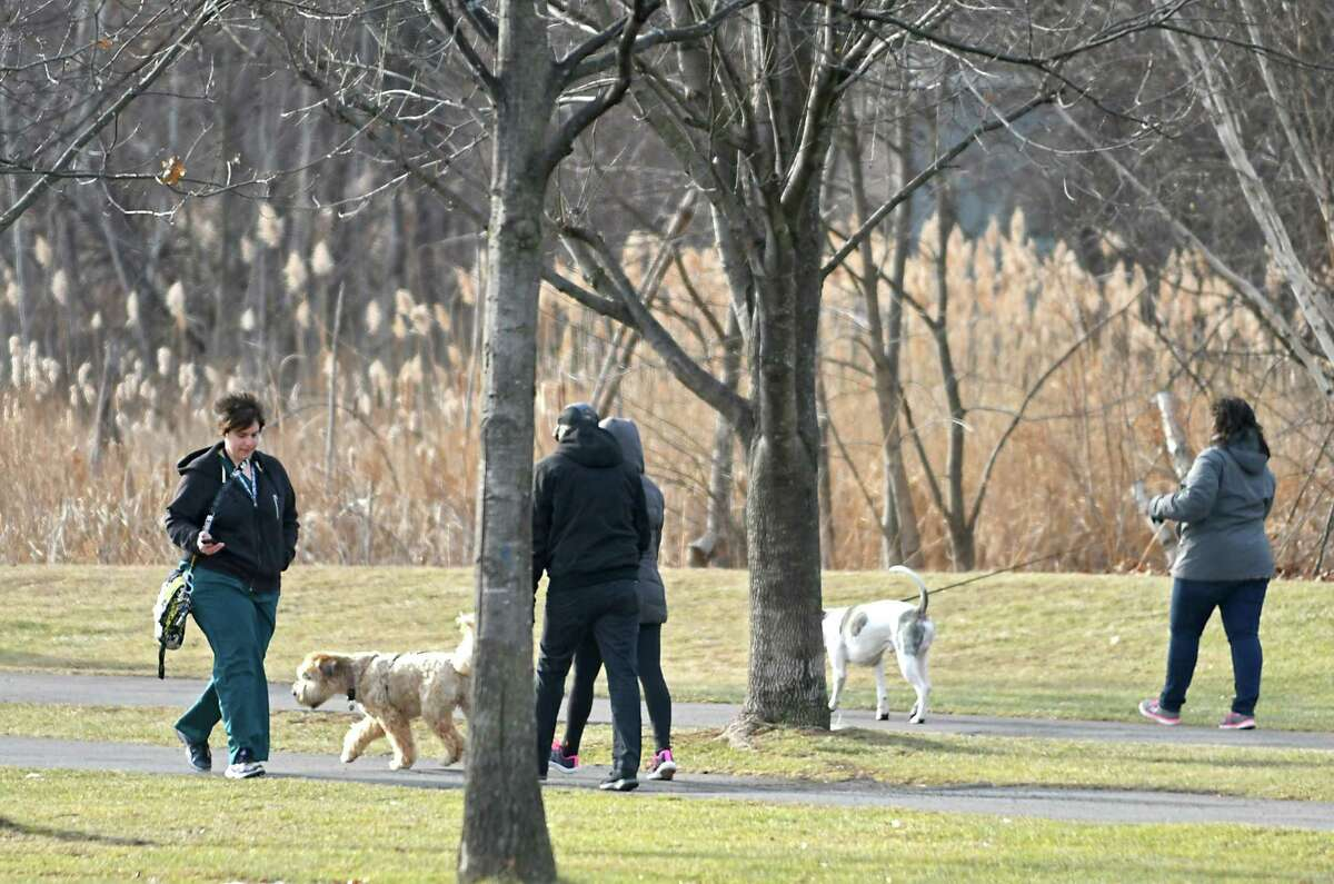 People walk on the paths at The Crossings of Colonie on Monday, Jan. 29, 2018 in Colonie, N.Y. (Lori Van Buren/Times Union)