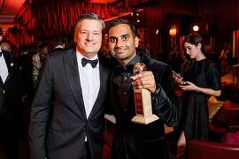 BEVERLY HILLS, CA - JANUARY 07:  Netflix Chief Content Officer, Ted Sarandos and Aziz Ansari attend the Netflix Golden Globes after party at Waldorf Astoria Beverly Hills on January 7, 2018 in Beverly Hills, California.  (Photo by Handout/Getty Images)