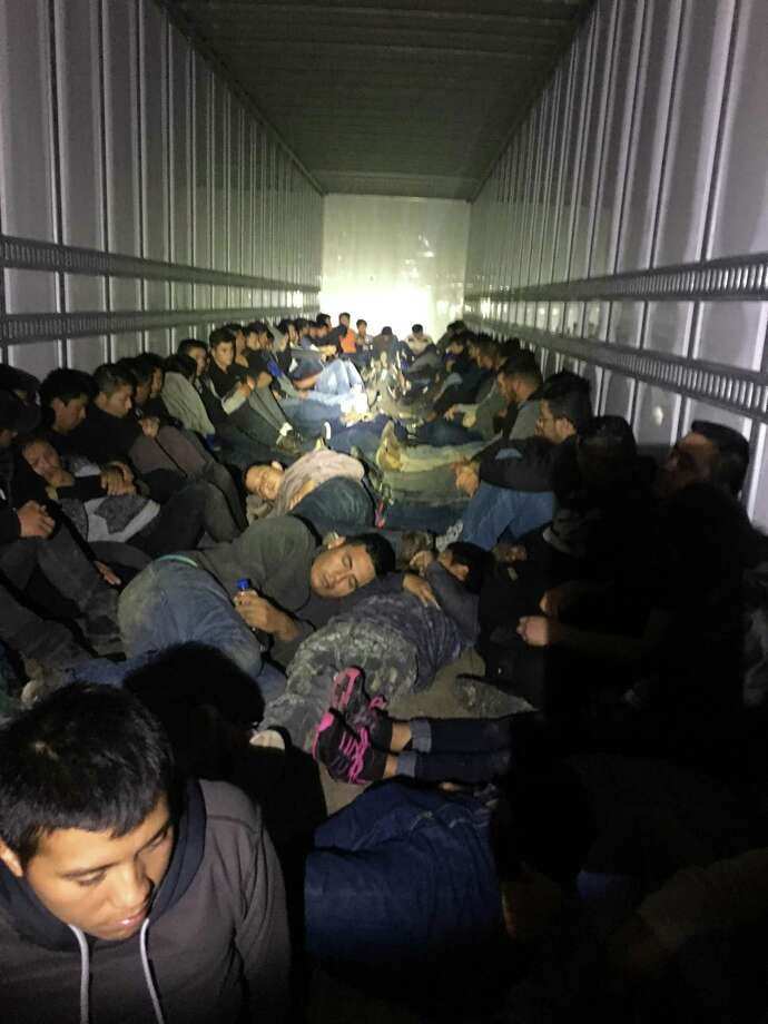 "The Border Patrol said agents working at a checkpoint on U.S. 83 near Laredo found 76 undocu- mented immigrants inside a tractor- trailer on Friday. The immigrants were in ""good health"" a Border Patrol news release said. Photo: Courtesy Photo /U.S. Border Patrol"