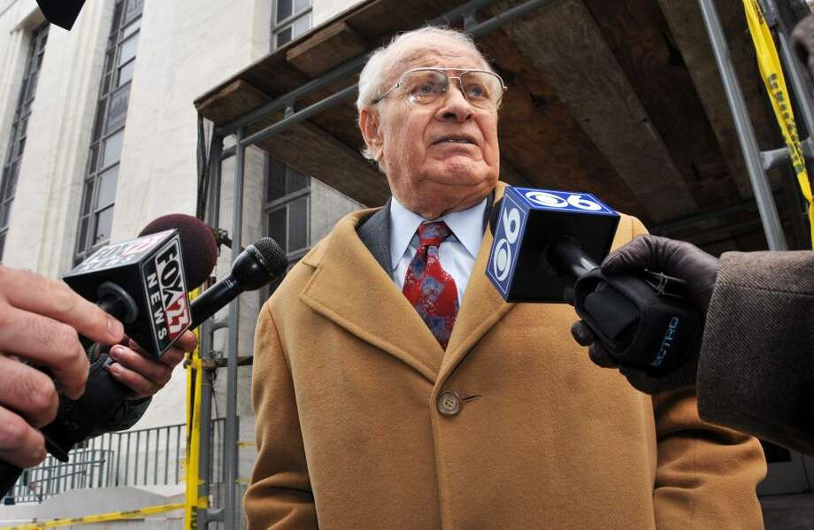 """Former Teamster leader Howard """"Whitey"""" Bennett leaves U.S. District Court after testifying in the trial of former Senate Majority Leader Joseph L. Bruno.  Bennett told the jury there was no quid pro quo in an investment referral by Bruno in his role as a consultant. (John Carl D'Annibale / Times Union) Photo: John Carl D'Annibale / 00006289A"""