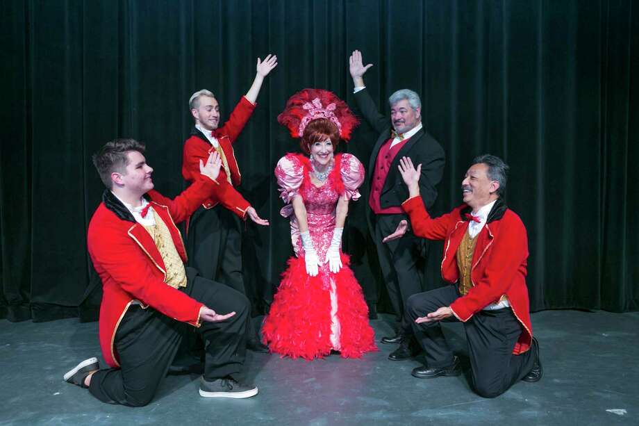 "Dolly with Rudolph and the waiters from left to right Bradley Rice, Wayne Mixon, Carolyn Wong, Jim Murph and Steven Wong in Stage Right's ""Hello Dolly!"" which will be at the Crighton Theatre from Feb. 9-25. Photo: Michael Pittman / Michael Pittman all rights reserved"
