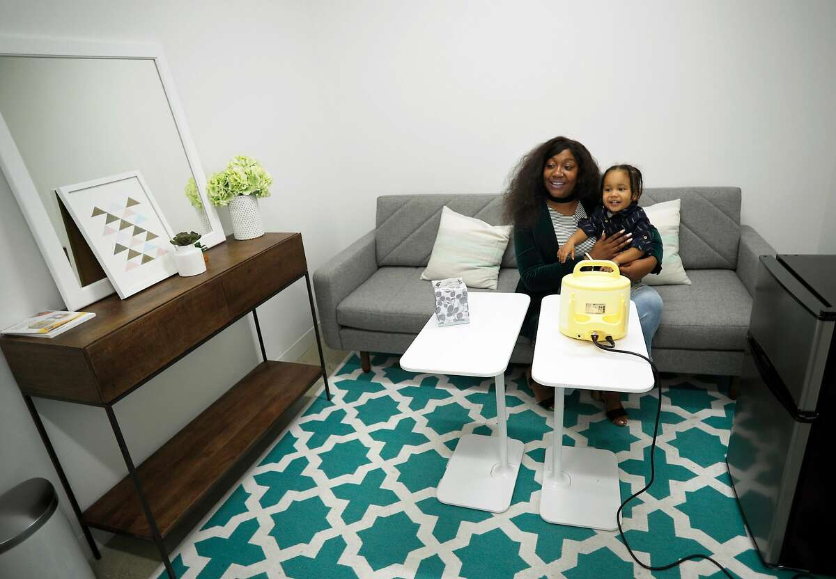 Ruth Arevalo and her son Josiah, 22 months, are inside the lactation room at the offices of Stitch Fix in San Francisco, Calif., on Monday Jan. 29, 2018. Arevalo is an advocate of lactation rooms at work, she had to stop breast feeding because she had no private space to do so at her work place. California State Senator Scott Weiner is introducing a bill to require lactation facilities in California businesses.