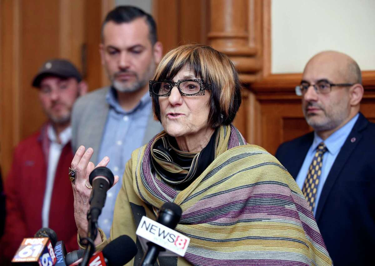 U.S. Rep. Rosa DeLauro speaks at a news conference at City Hall in New Haven Monday.