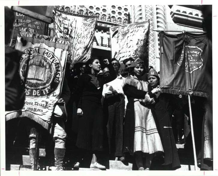 In 1938, Emma Tenayuca led a demonstration in San Antonio, protesting discrimination against Mexican pecan shellers, prompting a strike by 6,000-8,000 workers, possibly the largest walkout in Texas history. (San Antonio Light collection / UT Center for American Studies)