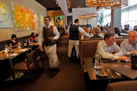 Customers dinner and drinks,Thursday August 26, 2010, at the Prospect restaurant in San Francisco, Calif.