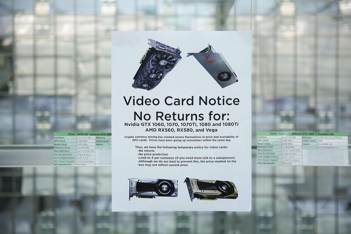 The graphics cards section is empty at Central Computers, Thursday, Jan. 25, 2018, in San Francisco, Calif. Cryptocurrency miners are buying out all the high-end graphics processor units they can find, which is driving the prices up and causing supply shortages at stores like Central Computers.
