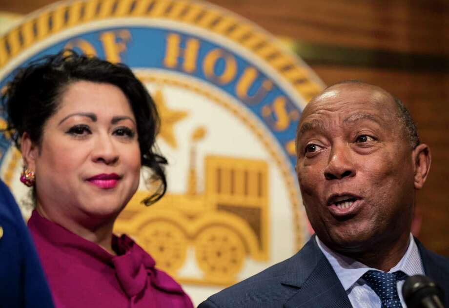 Mayor Sylvester Turner, standing with Dr. Laura Murillo, president and CEO of the Hispanic Chamber of Commerce, speaks, during a news conference urging Senators John Cornyn and Ted Cruz, along with other congressional leaders, to act on finding a permanent solution protecting DACA recipients, on Monday, Jan. 29, 2018, in Houston. Photo: Brett Coomer, Houston Chronicle / © 2018 Houston Chronicle