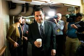 FILE-- Rep. Devin Nunes (R-Calif.), chairman of the House Intelligence Committee, walks past reporters on Capitol Hill in Washington, March 28, 2017. Republicans on the committee, apparently disregarding Justice Department warnings that their actions would be �extraordinarily reckless,� voted on Jan. 29, 2018, to release a contentious secret memorandum said to accuse the department and the FBI of misusing their authority to obtain a secret surveillance order on a former Trump campaign associate. (Doug Mills/The New York Times)