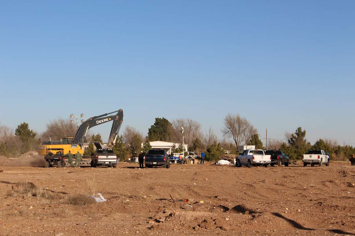 Heavy machinery are on scene at the5000 block of West County Road 116 where skeletal remains were discovered.