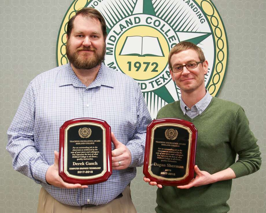 Midland College faculty members Derek Gash, left, and Dagan Sherman received the Teaching Excellence Award at a luncheon earlier this month. Photo: Katherine Curry