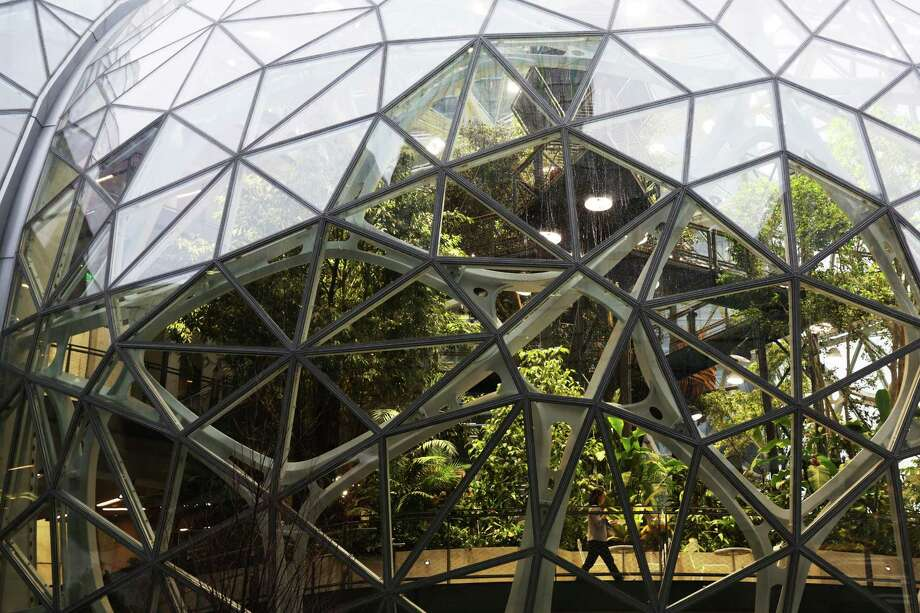 Guests explore the Amazon Spheres during an opening day unveiling event, Monday morning, Jan. 29, 2018. The Spheres are an innovative workplace filled with more than 40,000 plants from around the world, that will be available to Amazon employees beginning this week. Photo: GENNA MARTIN, SEATTLEPI.COM / SEATTLEPI.COM