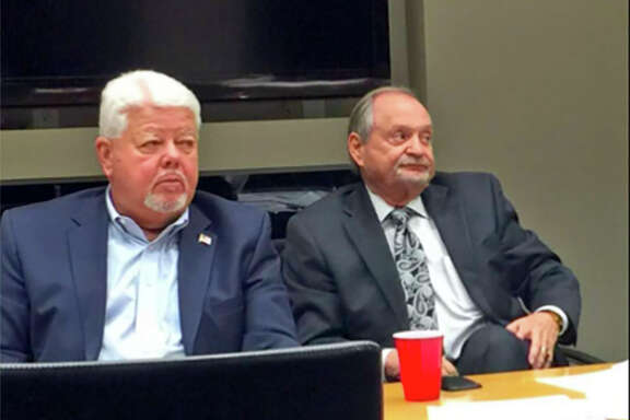 Roy Mease, right, the former chairman of Pasadena's economic development board, and ex-board member Brad Hance are shown in this file photo. Both were indicted in January, 2018 for allegedly violating the state's open meetings act.