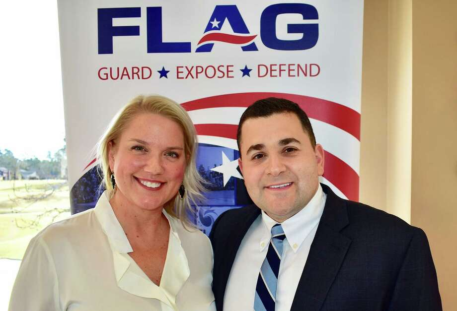Bestselling author and FOX news commentator Nick Adams, right, is pictured with Kim Bailey, first vice president of programs for the Montgomery County Republican Women. Adams was the featured speaker at the Thursday MCRW meeting at River Plantation Country Club. Adams is also the founder of Foundation for Liberty and American Greatness (FLAG), that educates students about political documents like the Constitution and Declaration of Independence.