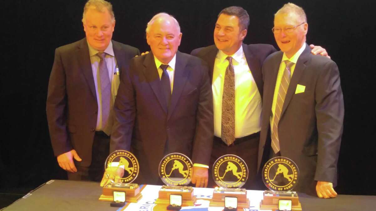 AHL Hall of Fame inductees (from left) Glenn Merkosky, Jim Bartlett, Don Biggs and Brian Kilrea. (Pete Dougherty/Times Union)