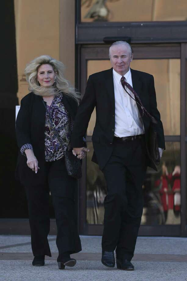 Prosecution witnesses Richard and Sharlene Thum leave the John H. Woods Jr. U.S. Courthouse during a Monday lunch break in the criminal fraud trial of state Sen. Carlos Uresti and his co-defendant, Gary Cain. The Thums had invested with FourWinds Logistics, a bankrupt frac-sand company accused defrauding investors. Photo: Jerry Lara /San Antonio Express-News / © 2018 San Antonio Express-News