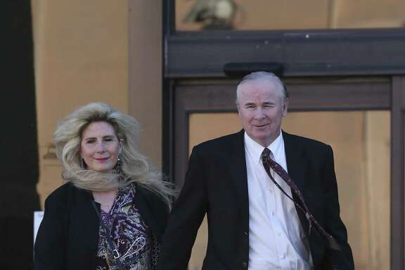 Prosecution witnesses Richard and Sharlene Thum leave the John H. Woods Jr. U.S. Courthouse during a Monday lunch break in the criminal fraud trial of state Sen. Carlos Uresti and his co-defendant, Gary Cain. The Thums had invested with FourWinds Logistics, a bankrupt frac-sand company accused defrauding investors.