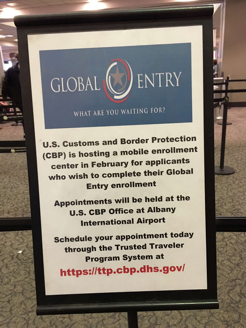 Eric Anderson / Times Union Sign at Albany International Airport for Global Entry program.