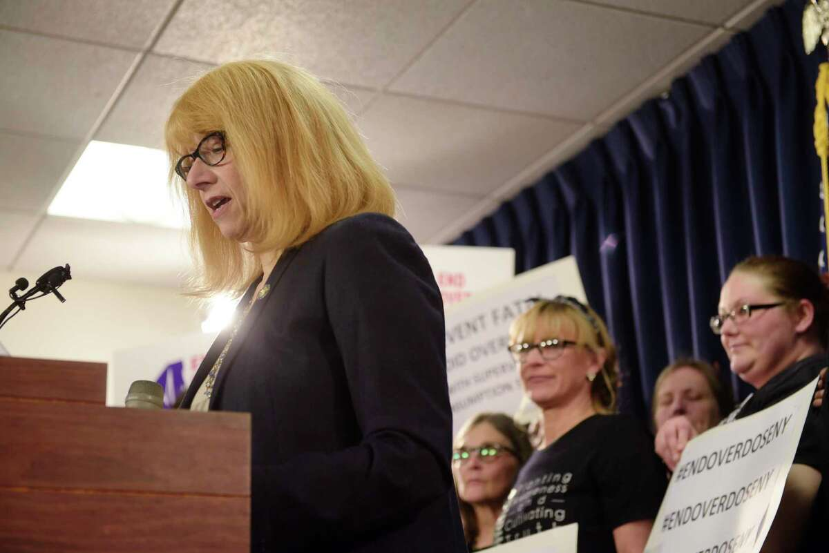 Assemblymember Linda Rosenthal addresses those attending a press conference held by supporters of safe injection facilities on Monday, Jan. 29, 2018, in Albany, N.Y. (Paul Buckowski/Times Union)