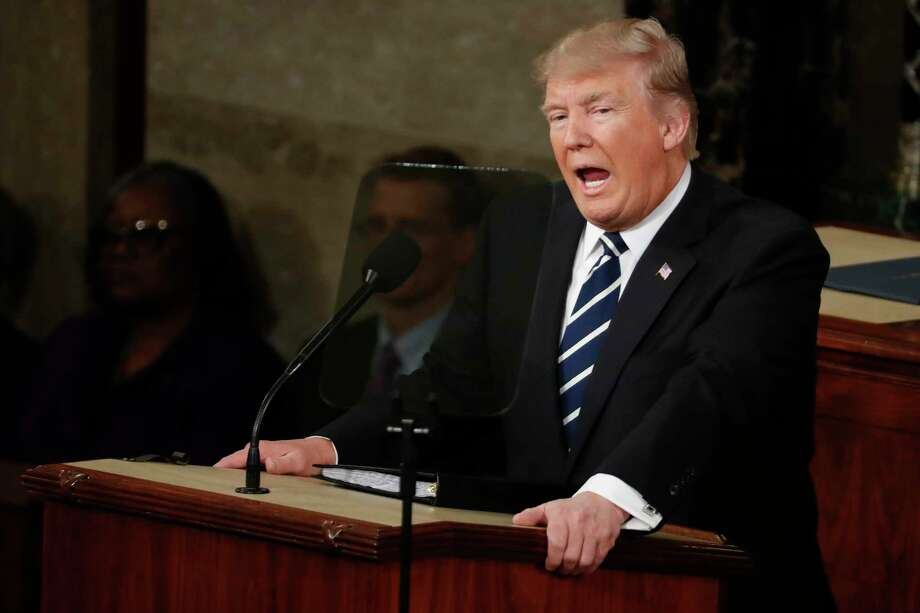 FILE - In this Feb. 28, 2017, file photo, President Donald Trump addresses a joint session of Congress on Capitol Hill in Washington. No natural orator, Trump has nonetheless shown at times that he can deliver a powerful speech that effectively outlines his vision, strikes an emotional chord and moves commentators to declare that he, at last, looks presidential. And then the teleprompter gets turned off. (AP Photo/Alex Brandon, File) Photo: Alex Brandon, STF / Copyright 2017 The Associated Press. All rights reserved.