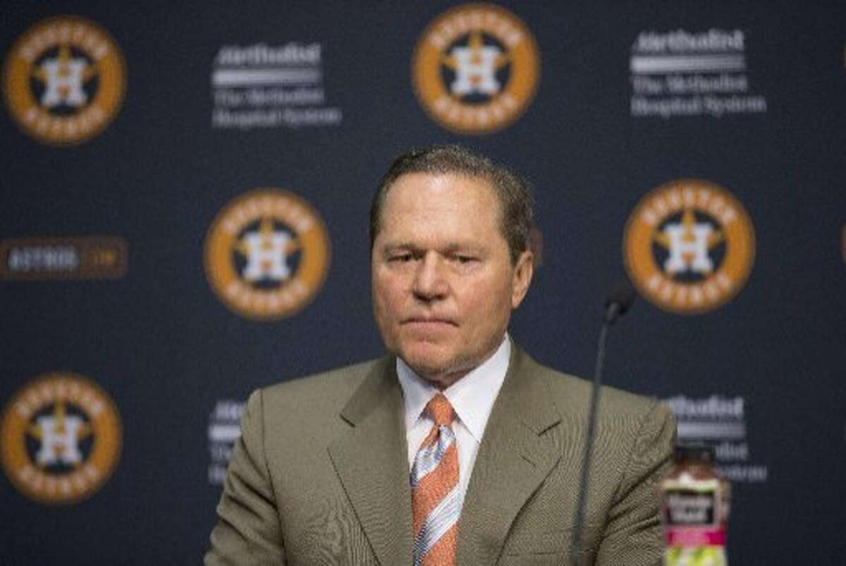 Agent Scott Boras during a news conference Wednesday, June 19, 2013, in Houston. (AP Photo/David J. Phillip)