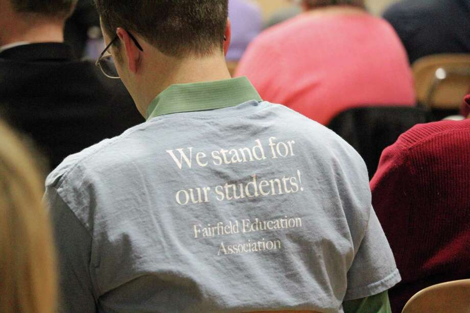 Teachers turned out in force to Monday's Representative Town Meeting to show support for their new three-year contract. The contract was approved by a vote of 24 to 11. Fairfield,CT. 1/29/18 Photo: Genevieve Reilly / Genevieve Reilly / Fairfield Citizen