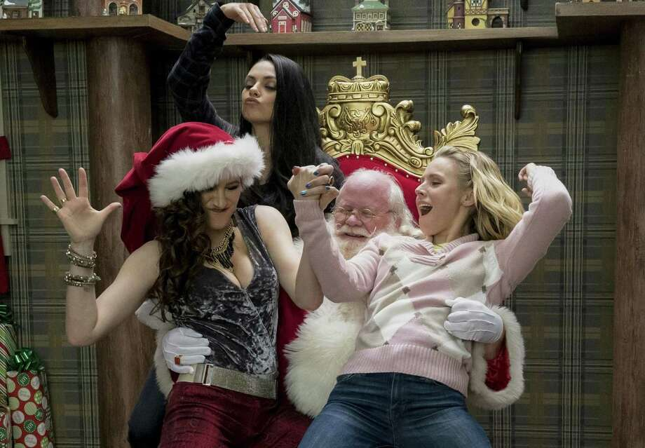 "Kathryn Hahn, Mila Kunis and Kristen Bell make merry with Santa in ""A Bad Moms Christmas."" Photo: Hilary Bronwyn Gayle /STX Entertainment / Motion Picture Artwork © 2017 STX Financing, LLC. All Rights Reserved."