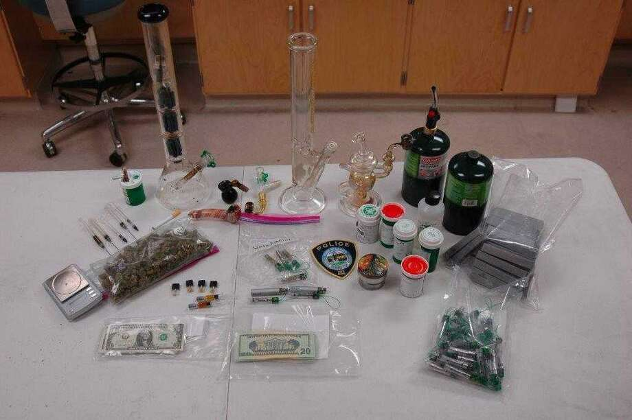Evidence seized by Darien Police from a home in Darien, Conn. on Jan. 29, 2018 where Jack Read, 18, was allegedly manufacturing and selling drugs. Photo: Contributed Photo / Contributed Photo / Darien News contributed