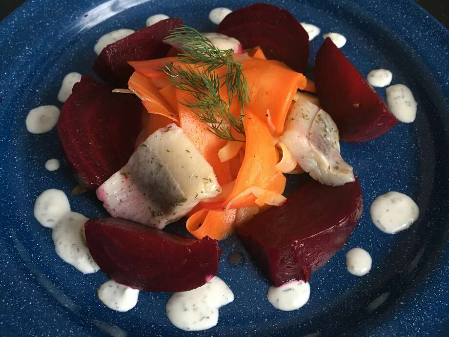 Roasted Beets With Shaved Carrots, Fennel & Pickled Herring Photo: Sarah Fritsche