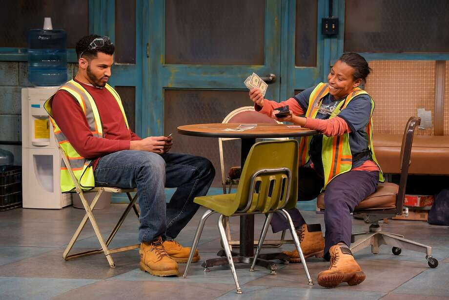 "Christian Thompson and Margo Hall play Detroit auto workers in Dominique Morisseau's ""Skeleton Crew."" Photo: Kevin Berne, Marin Theatre Company And TheatreWorks"