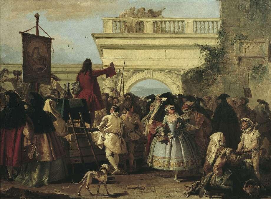 "Giovanni Domenico Tiepolo's ""The Charlatan"" (1756) in the ""Casanova: The Seduction of Europe"" show depicts the era's penchant for masquerade and deception. Photo: Museu Nacional D�Art De Catalunya, Barcelona"