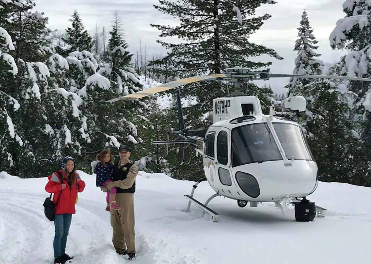 A family of three from Arcata who became stranded in the snow were saved by a CHP helicopter in January 2018.