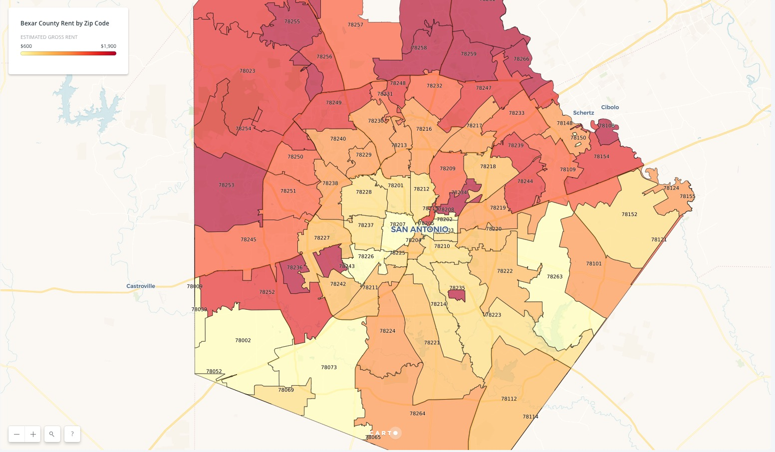 san antonio zip codes on map Map Which San Antonio Zip Codes Are Paying The Most Rent san antonio zip codes on map