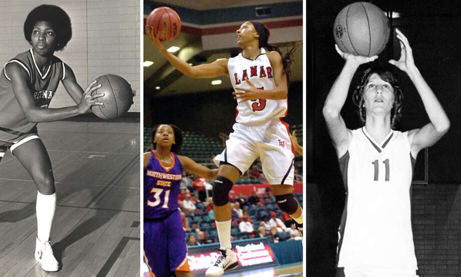 Former Lamar women's basketball players Carolyn Ford, left, Kalis Loyd, center, and Carol Sims will be honored with a jersey retirement ceremony during halftime of Saturday's game with Stephen F. Austin. (Staff and wire photos)