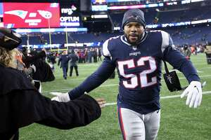 FOXBOROUGH, MA - JANUARY 13: Elandon Roberts #52 of the New England Patriots reacts after the AFC Divisional Playoff game against the Tennessee Titans at Gillette Stadium on January 13, 2018 in Foxborough, Massachusetts.  (Photo by Jim Rogash/Getty Images)