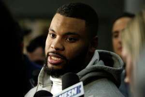 New England Patriots outside linebacker Elandon Roberts faces reporters in the team's locker room following an NFL football practice, Thursday, Jan. 18, 2018, in Foxborough, Mass. The Patriots are to host the Jacksonville Jaguars in the AFC championship Sunday, in Foxborough. (AP Photo/Steven Senne)