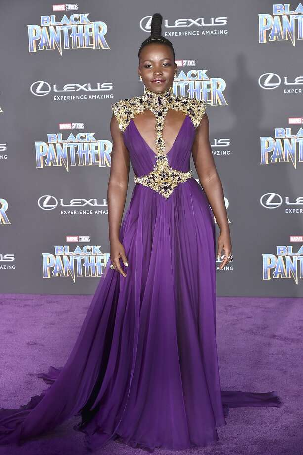 "Lupita Nyong'o at the Los Angeles World Premiere of Marvel Studios' ""Black Panther"" at Dolby Theatre on January 29, 2018 in Hollywood, California. Photo: David Crotty/Patrick McMullan Via Getty Image"