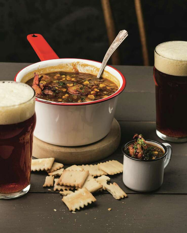 Blackened shrimp and corn chowder  pairs well with an amber ale. Photo:  The American Craft Beer Cookbook © By John Holl, Photography © By Lara Ferroni, Used With Permission From Storey Publishing / C / © Lara Ferroni