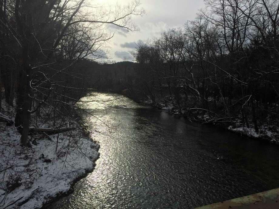 The Naugatuck River, as seen Tuesday from Bogue Road in Torrington. Photo: Ben Lambert / Hearst Connecticut Media