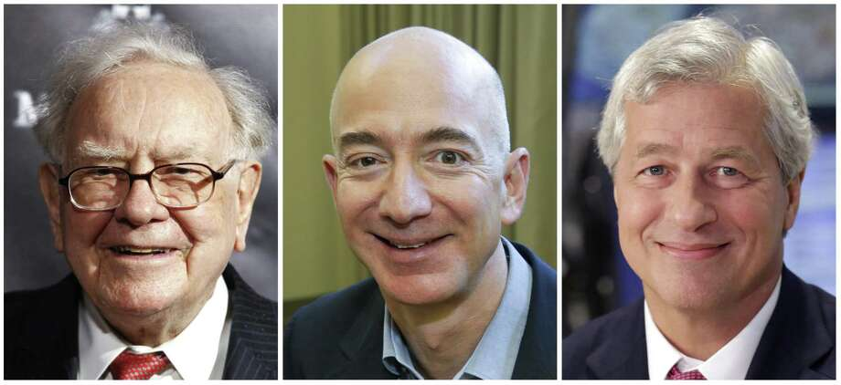 """This combination of photos from left shows Warren Buffett on Sept. 19, 2017, in New York, Jeff Bezos, CEO of Amazon.com, on Sept. 24, 2013, in Seattle and JP Morgan Chase Chairman and CEO Jamie Dimon on July 12, 2013, in New York. Buffetts Berkshire Hathaway, Amazon and the New York bank JPMorgan Chase are teaming up to create a health care company announced Tuesday, Jan. 30, 2018, that is """"free from profit-making incentives and constraints."""" Photo: /Associated Press / AP"""