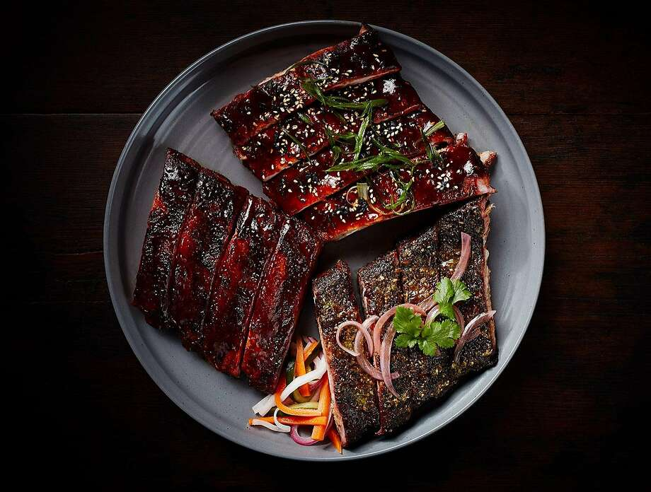 "Three types of ribs called ""Three little pigs."" Photo: James Carriere"